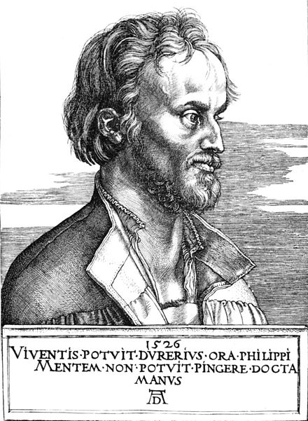 Philipp Melanchthon was the Continental reformer Henry most admired. In 1552 Cranmer invited him to participate in an ecumenical council in England. Engraving by Albrecht Durer, 1526 ADurerMelancthonengraving1526.jpg