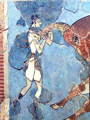 Bull-Leaping Fresco - Close-up of left figure of the Taureador Fresco