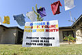A Domestic Violence Prevention Month sign stands at Tyndall Air Force Base, Fla., Oct. 6, 2011, as part of the Clothesline Project, a vehicle for women affected by violence to express their emotions 111006-F-MA824-004.jpg