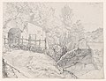 A House near a Grotto and a Roadside Chapel at Lake Nemi, with a View of Genzano from the North; verso- Sketch of Trees on the Border of a Lake, with Mountains in the Background MET DP873687.jpg