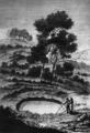 A crater, due to geometrical settlement of sands in the Rosarno Plain (from an original etching in Sarconi, 1784) - 1783 Calabrian earthquake.png