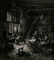 A family in a hovel with a woman tending a child, the men lo Wellcome V0038684.jpg