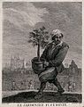 A man carries a large pot plant while, in the background, ga Wellcome V0044524.jpg