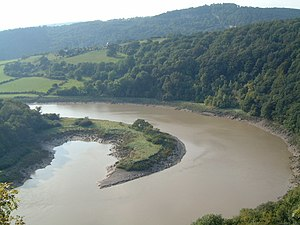 Lower Wye Gorge SSSI - A view north of the River Wye, Lancaut
