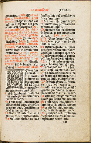 Chepman and Myllar Press -  A page from the psalter of the Aberdeen Breviary.(National Library of Scotland).
