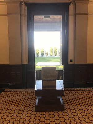 Academic Hall - The cornerstone in Jesse Hall Rotunda