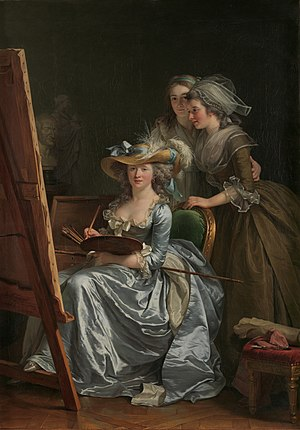 Adélaïde Labille-Guiard - Self-Portrait with Two Pupils, by Adélaïde Labille-Guiard, 1785. The two pupils are Marie Capet and Marie-Marguerite Carreaux de Rosemond.