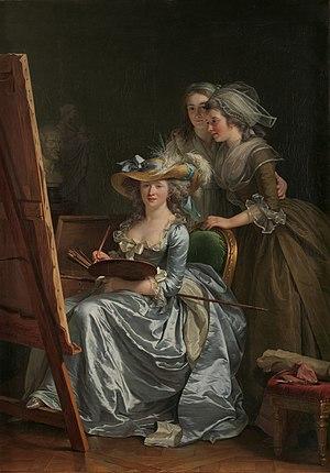 Marie-Gabrielle Capet - In the atelier of Adélaïde Labille-Guiard. Labille-Guiard, Self-Portrait with Two Pupils. The pupils are Marie-Gabrielle Capet and Marie-Marguerite Carreaux de Rosemond