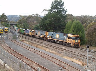 Railways in Adelaide - Pacific National freight from Melbourne to Perth passing Belair in the Adelaide Hills