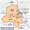 Administrative map of Delhi with RTO codes for vehicle registration.png