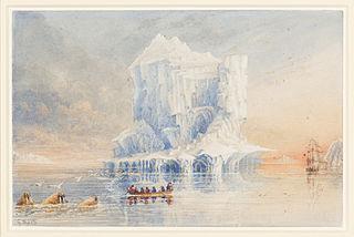 L'amiral George Back montre le HMS Terror, ancré près d'un iceberg dans les eaux autour de l'île de Baffin