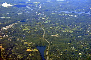Interstate 684 - Interstate 684 wends between Muscoot Reservoir to its west and Cross River Reservoir to its east near Katonah, New York. Byram Lake Reservoir just west of I-684 at bottom. (Aerial photo, 2013).