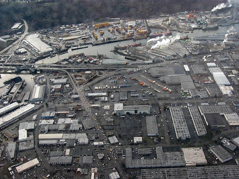 File:Aerial view of Highway 99 crossing Duwamish Waterway in Seattle.jpg