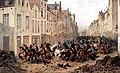 Aftocht van de Nederlandse cavalerie in de Vlaamsesteenweg in Brussel in 1830 (J. Van Severdonck).jpg