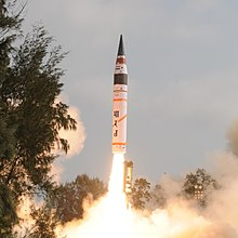 Agni-V during its first test flight.jpg
