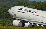 Air France Airbus A340-300 (F-GLZC) taking off from Cayenne-Rochambeau Airport.jpg