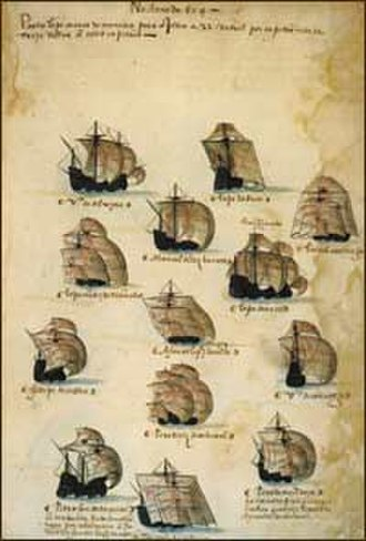 6th Portuguese India Armada (Albergaria, 1504) - Depiction of the 6th India Armada (Albergaria, 1504), from the Memória das Armadas