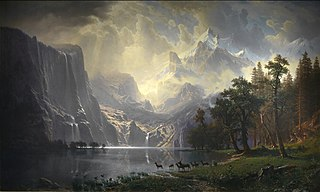 large thumbnail of painting by artist Albert Bierstadt called 'Among the Sierra Nevada Mountains', with link to large version stored on Wikipedia