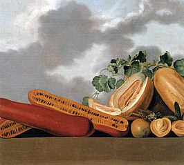 Still-life of melons, mangos and a grasshopper