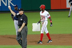 Alfonso Soriano - Alfonso Soriano joins the 40–40 club by stealing his 40th base against the Milwaukee Brewers at RFK Stadium, September 16, 2006.