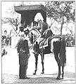 Alfonso XIII hablando con Antonio Maura durante la ceremonia de la jura de la bandera en el Paseo de la Castellana, de Campúa.jpg