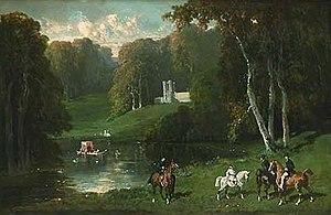 Alfred de Dreux - Image: Alfred Dedreux Cavaliers et amazones au bord d'un lac