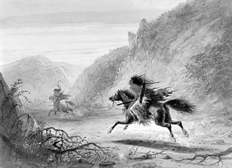 """Horse theft - Image: Alfred Jacob Miller Snake Indian Pursuing """"Crow"""" Horse Thief Walters 371940145"""