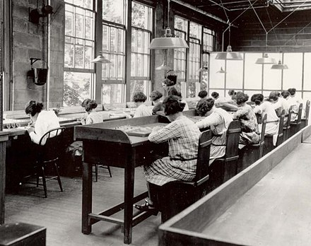 Radium painters working in a factory