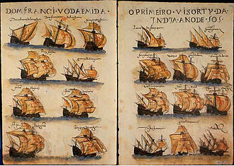 7th Portuguese India Armada (Almeida, 1505) - Depiction of the 7th India Armada (Almeida, 1505), from the Livro de Lisuarte de Abreu, c. 1565