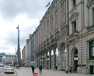 Jungfernstieg - Alsterhaus and the eastern end of Jungfernstieg, seen towards St. Petri