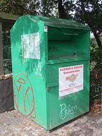 Altkleider-Container, ÖKZA-Textilrecycling, Farbe: grün