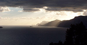 Sunset over the western tip of the Amalfi Coast
