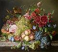 Amalie Kaercher - Still life with fruit and flowers on a ledge, 1858.jpg