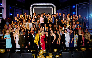 American Broadcasting Company - In 2002, dancers and other cast members from the 32-year run of American Bandstand reunited with host Dick Clark to celebrate the 50th anniversary of the show's local television debut.