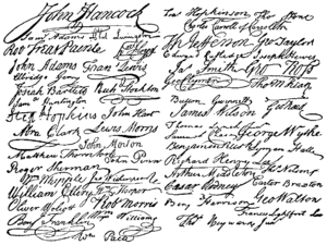 Two-column collage of signatures from the Unit...