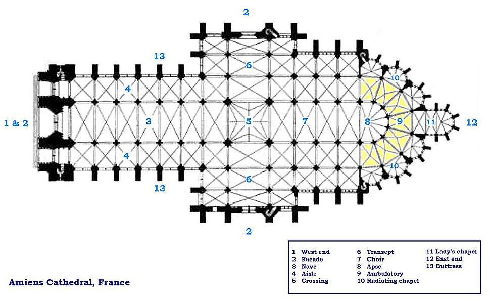 Amiens cathedral floorplan