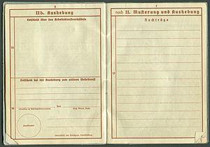 Amtsdokument Paul Fischer 1937 Leutnant Wehrpass Luftwaffe Seite 08 09 Aushebung Musterung und Aushebung.jpg
