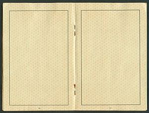 Amtsdokument Paul Fischer 1940 Deutsches Reich Reisepass Seite 18 19 blanco Klammerheftung Mitte.jpg