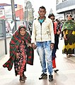 An old lady being escorted to polling booth to cast her vote, at a polling booth, during the Meghalaya Assembly Election, in Shillong on February 27, 2018.jpg