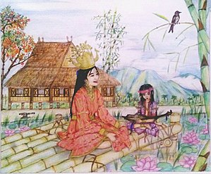 Filipinos - The painting of a young mother and her child which belong in Maharlika caste and their abode which is the Torogan in the background.