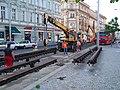 Anděl, Nádražní, rekonstrukce trati, pokládání kolejí (01).jpg