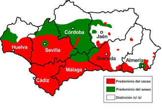 Andalusian Spanish - Areas of Andalusia in which seseo (green), ceceo (red), or the distinction of c/z and s (white) predominate. Note that the city of Cádiz has seseo.