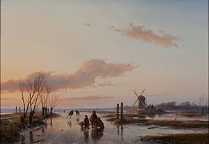 Andreas Schelfhout - Frozen Waterway, 1845