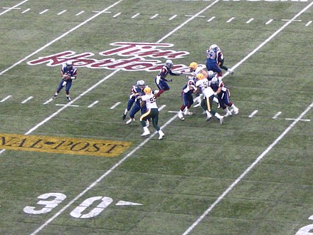 Montreal Alouettes quarterback Anthony Calvillo looks down field with the ball during the 2005 Grey Cup game against the Edmonton Eskimos at BC Place Anthony Calvillo game action, 93rd Grey Cup.jpg