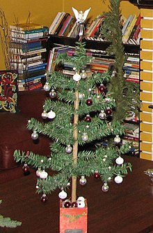 an antique feather christmas tree note the central dowel - Feather Christmas Trees