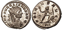 Aurelian in his radiated solar crown, on a silvered bronze coin struck at Rome, 274-275