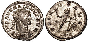 Aurelian - Aurelian, personification of Sol, defeats the Palmyrene Empire, and celebrates ORIENS AVG – oriens Augusti: the rising sun/star of Augustus.