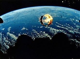 Apollo 6 - Still from footage of Apollo 6's interstage falling away (NASA)