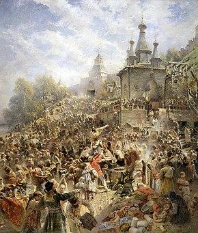Dipinto di Kuzma Minin che si rivolge a una grande folla