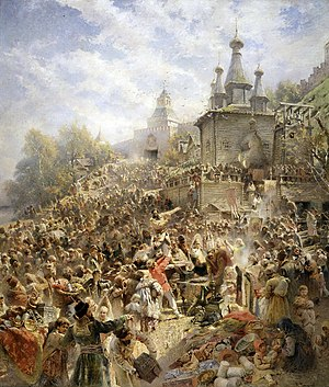 Time of Troubles - Minin appeals to the people of Nizhny Novgorod to raise a volunteer army against Polish forces, by Konstantin Makovsky.